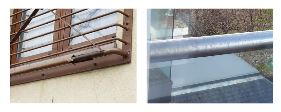 Our aluminium Juliet balconies will not suffer from corrosion or tarnishing, unlike these steel products.